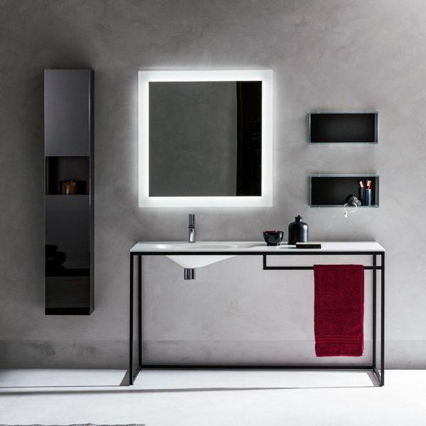 Arte_console vasque en verre Frame, piétement noir.