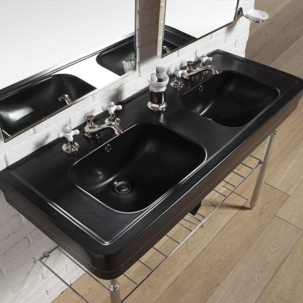 BP_console vasque céramique noire 9130 piétement métal