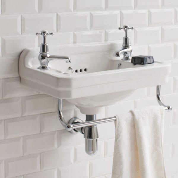 Burlington_lave-mains céramique mural B8 avec porte-serviettes