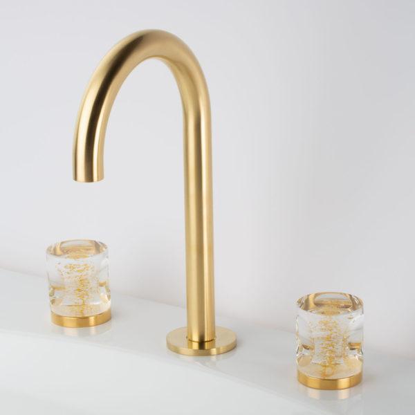 Cristal & Bronze_mélangeur lavabo Céleste doré satiné-cristal