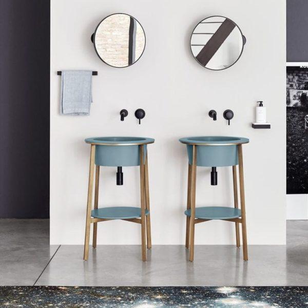Cielo_console vasque ronde Catino et étagère bleu polvere