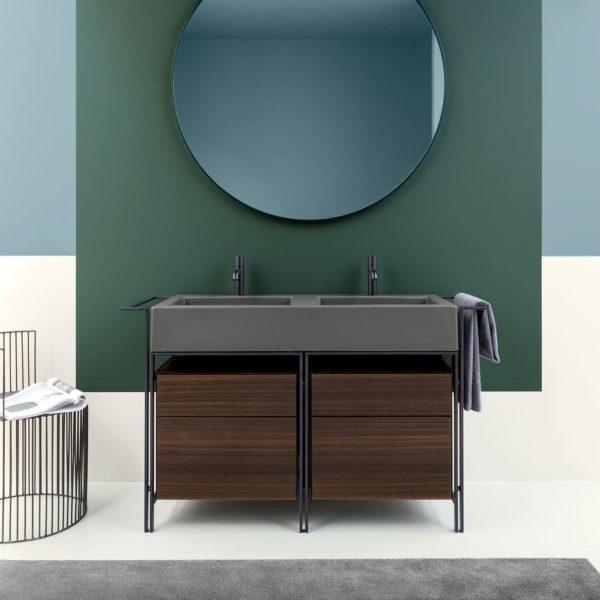 Cielo_meuble piètement métal et plan double vasque céramique Narciso