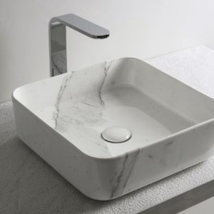 Cielo_vasque carrée Shui comfort en marbre de Carrare