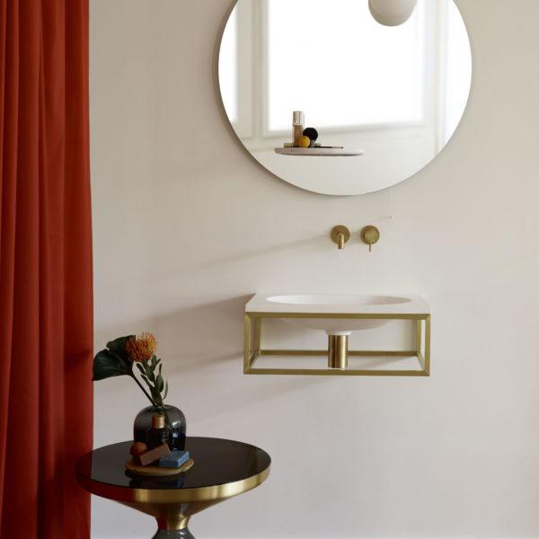 EX.t_Console vasque murale-Frame en LivingTec et support brass_miroir-Float