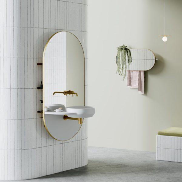 EX.t_Console vasque murale et rangement_Arco-oval brass