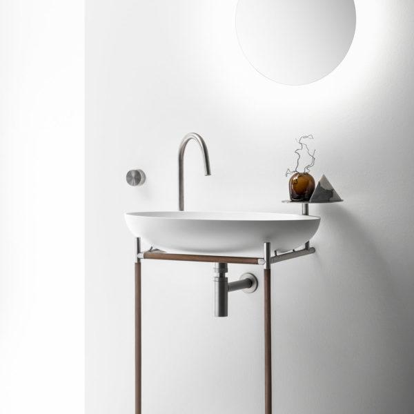 Falper-Paris_console vasque Monsieur, inox brossé et bois noce.