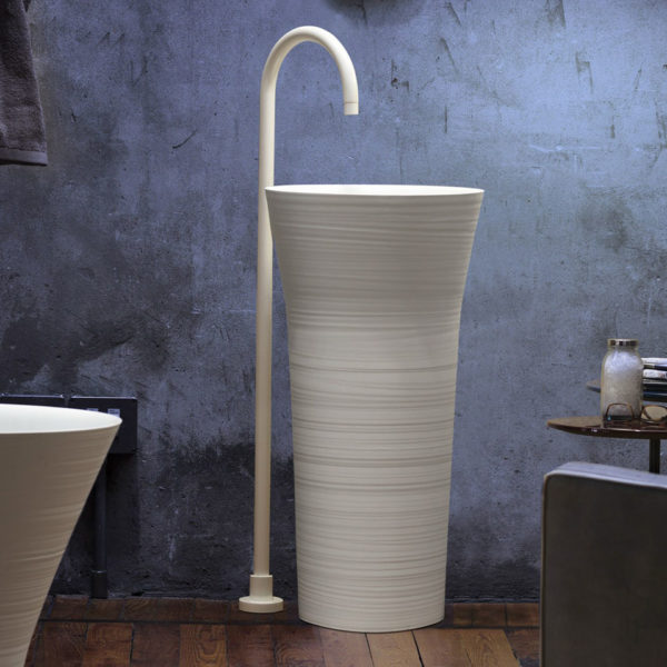 Falper-Paris_lavabo colonne Handmade ceramilux blanc mat