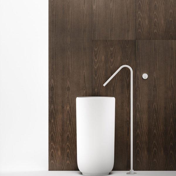Falper-Paris_lavabo colonne Homey en Cristalplant blanc mat