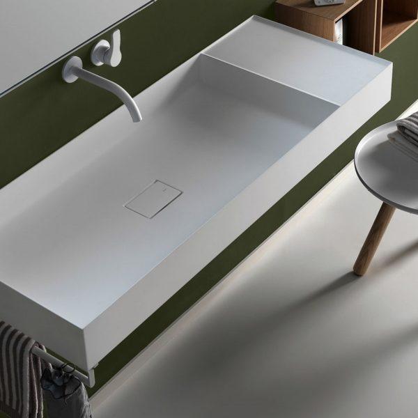 Falper-Paris_plan-vasque suspendu Quattro.Zero en Ceramilux blanc mat