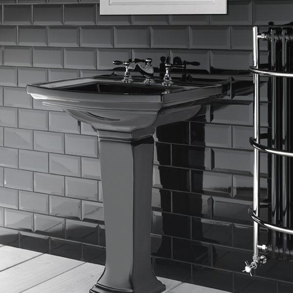 Imperial_lavabo-colonne rétro Radcliffe noir brillant