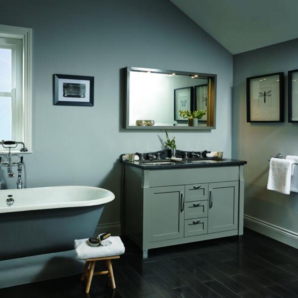 Imperial_meuble double vasque sur pieds Barrington, plan en marbre, version tiroirs