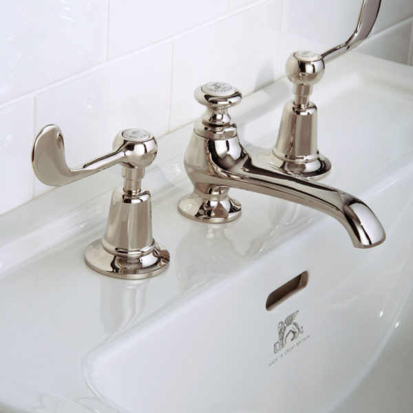 Lefroy Brooks_mélangeur lavabo bec bas Connaught CL1224 nickel brillant