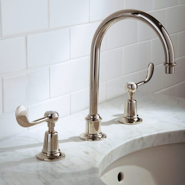 Lefroy Brooks_mélangeur lavabo bec haut Connaught CL1230 nickel brillant