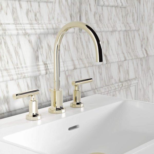 THG_mélangeur lavabo Ondes à manettes, doré