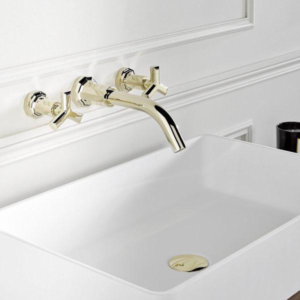THG_mélangeur lavabo mural Ondes doré pale