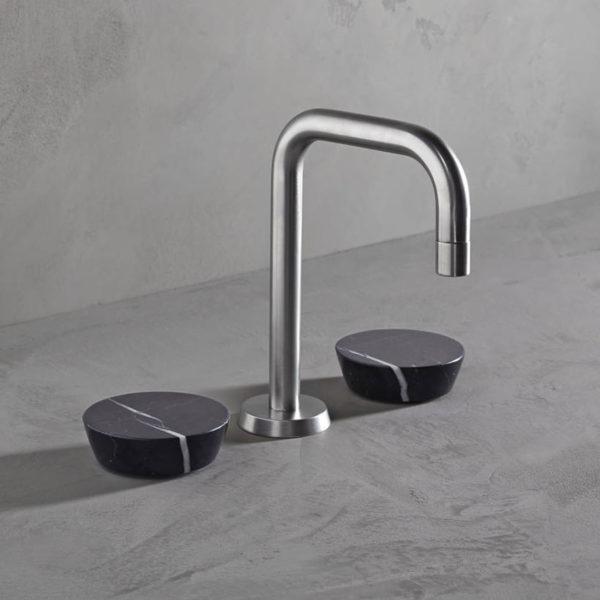 Watermark_mélangeur lavabo Zen nickel brossé-marbre noir marquina
