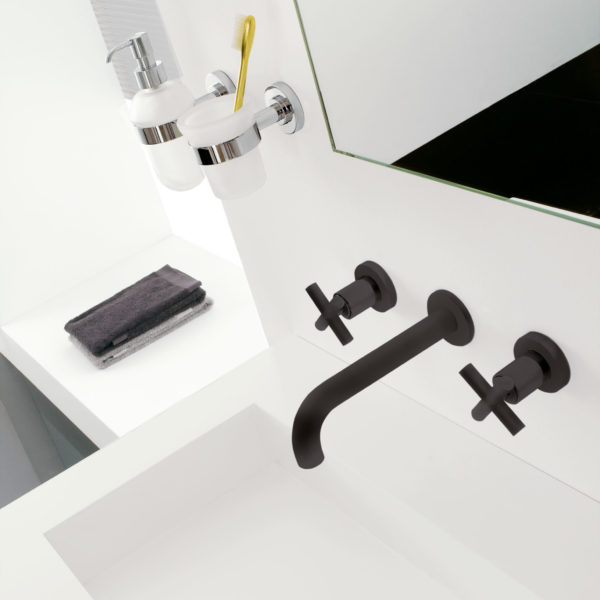 Zazzeri_Mélangeur lavabo mural ligne Dada noir
