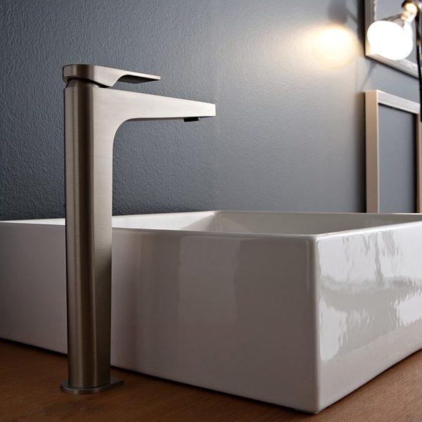 Zazzeri_Mitigeur lavabo haut ligne100 nickel brossé